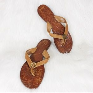 Tory Burch Thora Leather Logo Thong Sandals